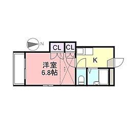 花津留Apartment[1階]の間取り
