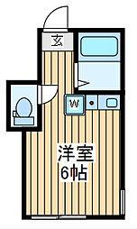 JR京浜東北・根岸線 川崎駅 バス12分 小田公園前下車 徒歩3分の賃貸アパート 2階ワンルームの間取り