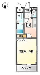 愛知県稲沢市陸田宮前1の賃貸アパートの間取り
