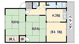 中塚マンションA棟[7号室]の間取り