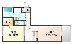 岡山県岡山市中区江並の賃貸アパートの間取り