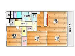 リバーサイド藤井寺[3階]の間取り