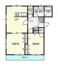 JR山形新幹線 山形駅 バス17分 富ノ中下車 徒歩10分の賃貸マンション 2階2LDKの間取り