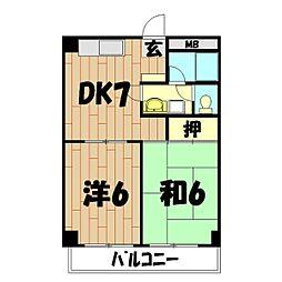 レジデンスデュー[3階]の間取り