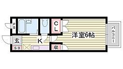 JR赤穂線 播州赤穂駅 徒歩18分の賃貸アパート 1階1Kの間取り