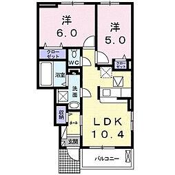 ル リアン D 1階2LDKの間取り