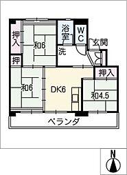 ビレッジハウス北口 1号棟[4階]の間取り