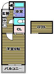 プレステージフジ狭山壱番館 2階1Kの間取り