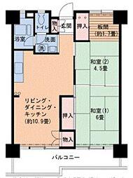 Osaka Metro南港ポートタウン線 ポートタウン西駅 徒歩9分の賃貸マンション 2階2LDKの間取り