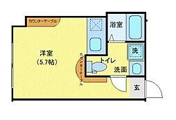 CONTEL西五反田 3階ワンルームの間取り