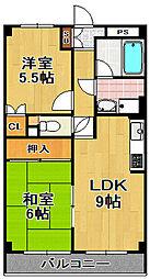 レクシア泉尾 4階2LDKの間取り