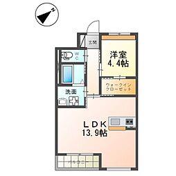 (仮)つくば市流星台新築マンション(ペット可) 1階1LDKの間取り
