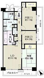 JR山手線 高田馬場駅 徒歩9分の賃貸マンション 8階3LDKの間取り