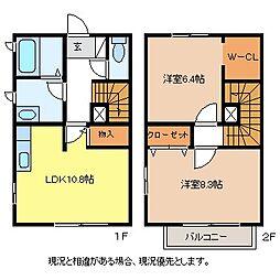 長野県長野市稲田2丁目の賃貸アパートの間取り