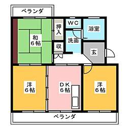サテンコート[1階]の間取り
