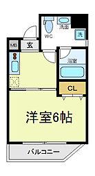 Osaka Metro御堂筋線 天王寺駅 徒歩8分の賃貸マンション 5階1Kの間取り