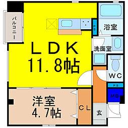 愛知県名古屋市中村区則武1丁目の賃貸アパートの間取り