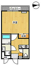 スカイマンションi 1階1Kの間取り