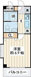 ジェラトーニ浦安 4階1Kの間取り