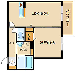 近鉄南大阪線 高鷲駅 徒歩4分の賃貸アパート 1階1LDKの間取り