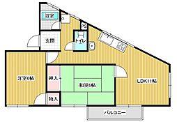 アトム城山[3階]の間取り