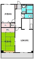 大阪モノレール 南摂津駅 徒歩1分の賃貸マンション 3階2LDKの間取り