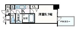 プレサンス心斎橋クオーレ 13階1Kの間取り