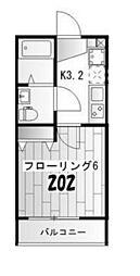 SK lani 2階1Kの間取り