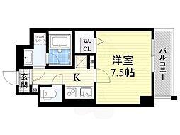 AZURE京口 6階1Kの間取り