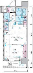ジェノヴィア東神田グリーンヴェール 7階1DKの間取り