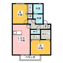 ツイトローネ A[2階]の間取り