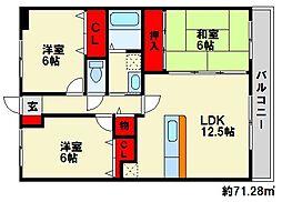 フローラルハイツ[6階]の間取り