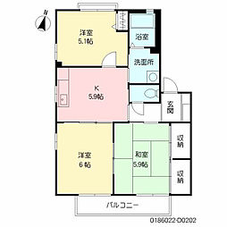 ペニーレイン 18棟[2階]の間取り