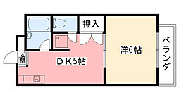兵庫県西宮市甲子園町の賃貸アパートの間取り