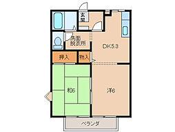グリーンフル堂西II[2階]の間取り