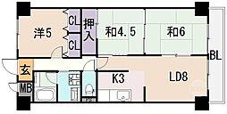 大阪府八尾市本町2丁目の賃貸マンションの間取り