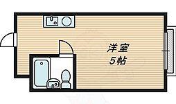 昭和グランドハイツ桜ノ宮 1階ワンルームの間取り
