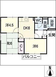 グリーンフラッツA棟[2階]の間取り