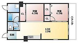 上之宮台ハイツ[3階]の間取り