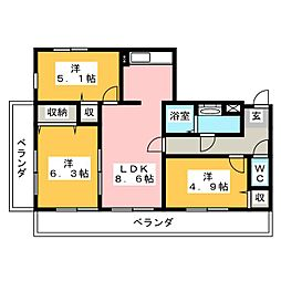 フォーラム岩倉[3階]の間取り