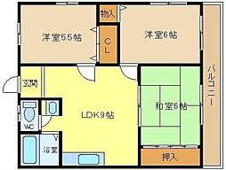 大阪府堺市西区浜寺元町4丁の賃貸マンションの間取り