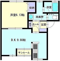 秋田県大仙市大曲須和町2丁目の賃貸アパートの間取り