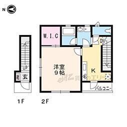 京阪本線 藤森駅 徒歩11分の賃貸アパート 2階1Kの間取り
