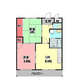 ウインドヒル守口(旧アーバンハイツ) 3階2LDKの間取り