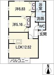ノースタウン B[1階]の間取り