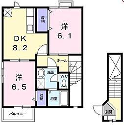 香川県高松市西山崎町の賃貸アパートの間取り
