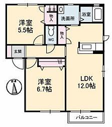 メゾンシャルマンC棟[C202号室]の間取り