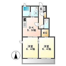 岡山県倉敷市中畝8の賃貸アパートの間取り