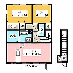 平松ハイツ弐番館[2階]の間取り
