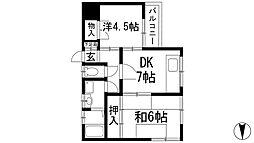 兵庫県西宮市仁川町2丁目の賃貸アパートの間取り